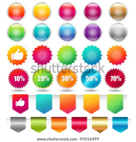 Sale Shopping Badge And Labels, Isolated On White Background - stock photo