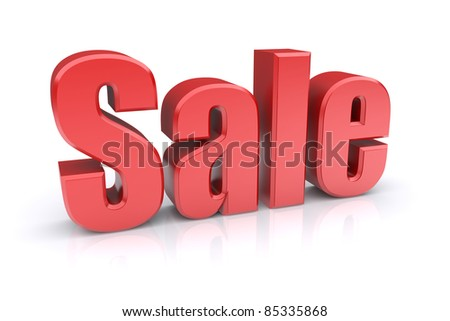 Sale sign on a white background. 3d rendered image. - stock photo
