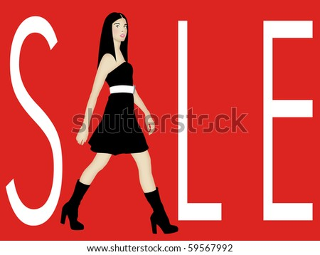 Sale sign with walking brunette fashion model representing letter A in SALE. - stock photo