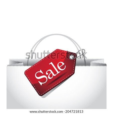 Sale tag on a shopping bag background. With space for your text.  - stock photo