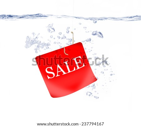 Sale Tag on Fish Hook Under Water - stock photo