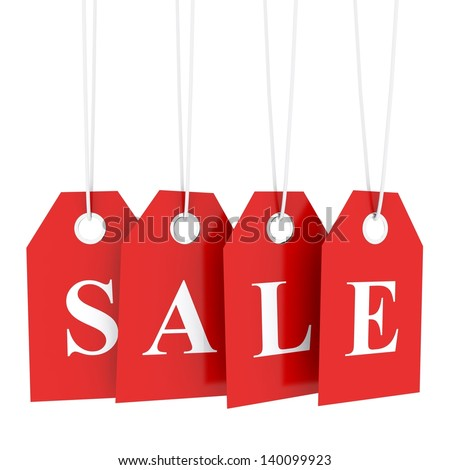 Sale tag on red hanging labels - stock photo