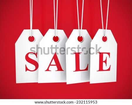Sale tag on white hanging labels - stock photo
