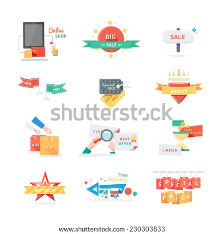 Sale Tags. Online shop tags for clearance offer and special discount. Big sale, buy now, special offer, free delivery, best seller, quality, special price. Raster version - stock photo