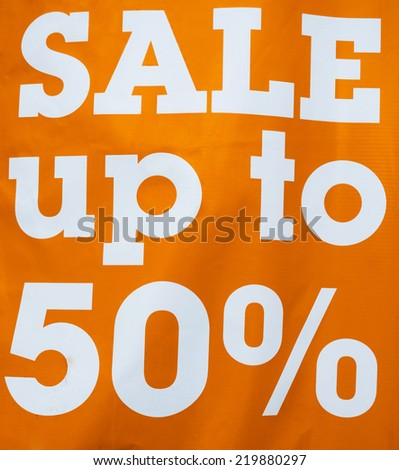 Sale up to 50 Percents Discount Promotion sign - stock photo