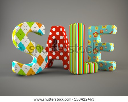 Sale word fabric on grey background 3D - stock photo