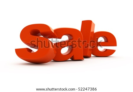Sale word single from red three-dimensional letters. - stock photo