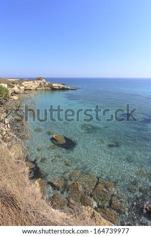 Salento cliffs in Apulia, Italy - stock photo
