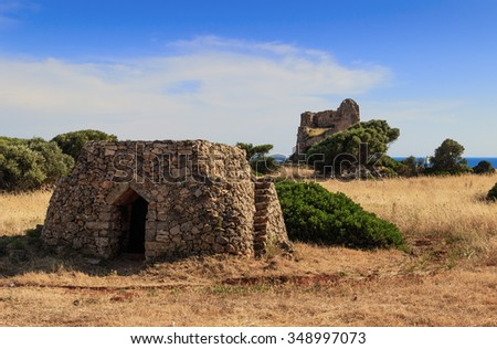 SALENTO LANDSCAPE.Trullo house:in the background Uluzzo watchtower .Apulia,Italy.These singular houses, used as temporary or daily shelters,are disseminaded  all over the Salentine area. - stock photo