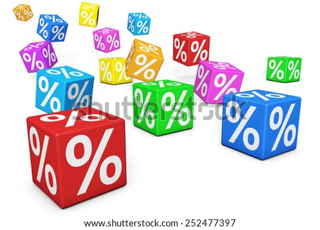 Sales, discount and promotion concept with colorful cubes and percent symbol sign on white background. - stock photo