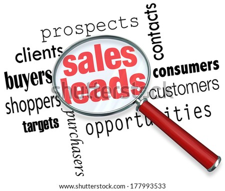 Sales Leads Looking Finding Searching Magnifying Glass - stock photo