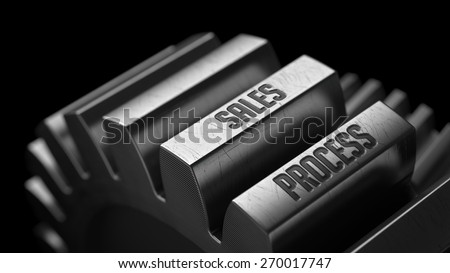 Sales Process on the Metal Gears on Black Background.  - stock photo