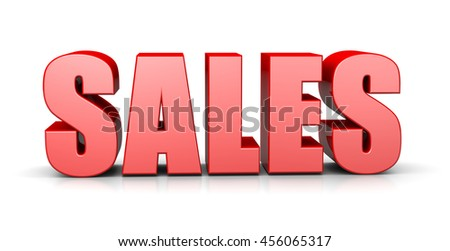 Sales Red 3D Text English Language Illustration on White Background - stock photo