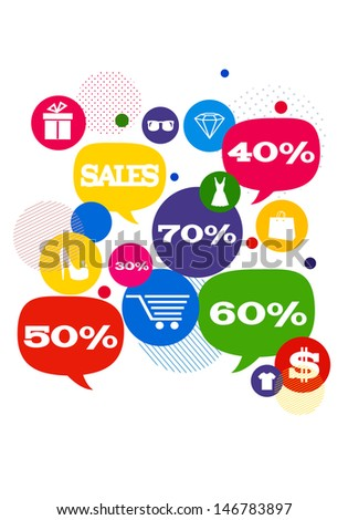 Sales shopping icons./ Colorful bubbles/buttons floating  with shopping icons and sales percents. - stock photo