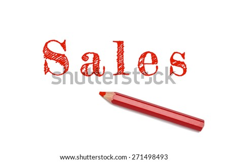 Sales sketch text written red pencil white background. Business concept sales and revenue. - stock photo