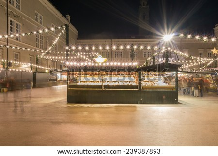 sales stand at the christmas market - stock photo