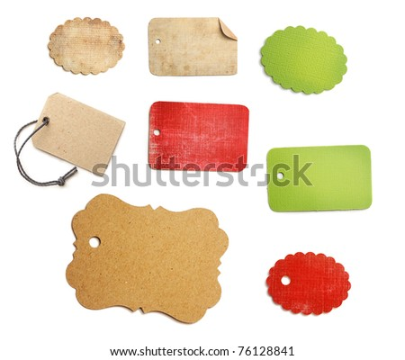 sales tags and labels on white - stock photo