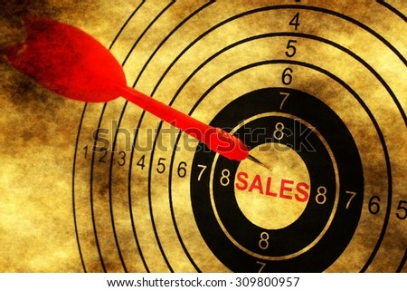 Sales target concept on grunge background - stock photo
