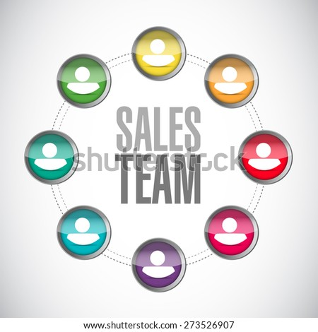sales team network sign concept illustration design over white - stock photo