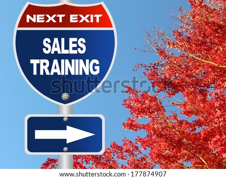 Sales training road sign - stock photo
