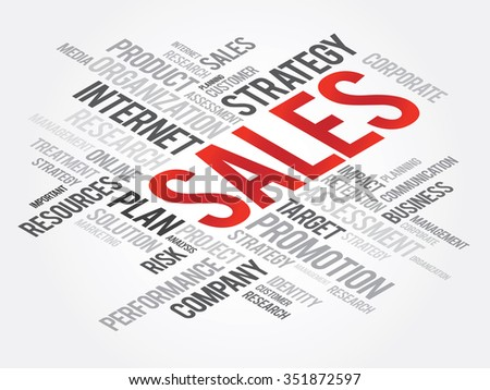 SALES Word Cloud, business concept background - stock photo