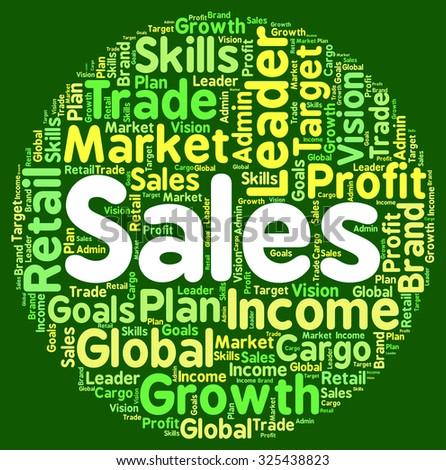 Sales Words Representing Wordcloud Commerce And Wordclouds - stock photo