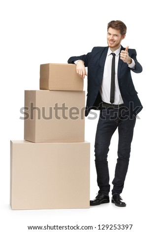 Salesperson recommends consumer goods, isolated, white background - stock photo