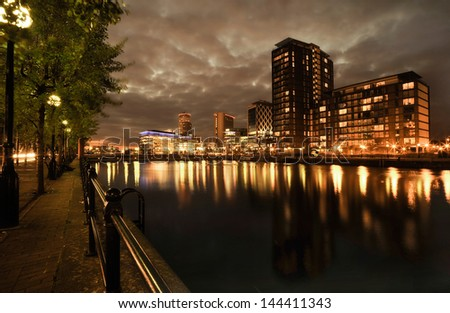 Salford Quays in Manchester - stock photo