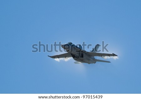 SALINAS, CA - SEPT 25: US NAVY Boeing F/A-18 Super Hornet demonstration during the California International Airshow, on September 25, 2011, Salinas, CA. - stock photo