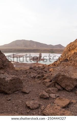 Salinas in Sal Cape Verde , Cabo Verde - stock photo