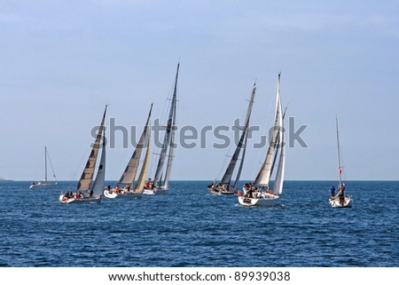 Saling boats on the boat race - stock photo