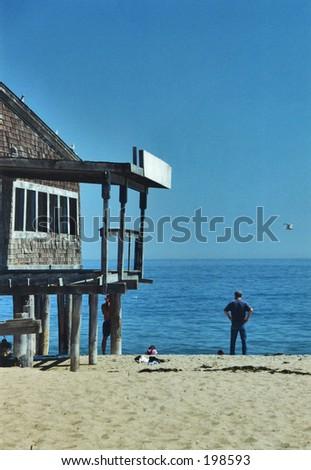 Salisbury Beach shack with ocean view - stock photo