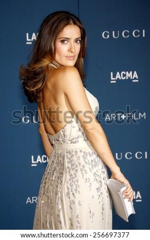 Salma Hayek at the LACMA 2013 Art + Film Gala Honoring Martin Scorsese And David Hockney held at the LACMA in Los Angeles on November 2, 2013 in Los Angeles, California.  - stock photo