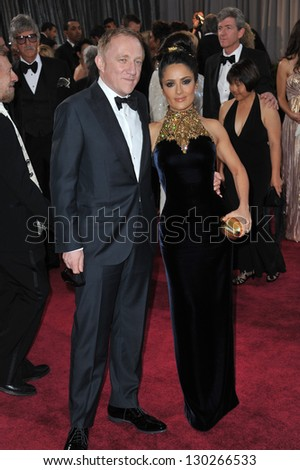 Salma Hayek & Francois-Henri Pinault at the 85th Academy Awards at the Dolby Theatre, Hollywood. February 24, 2013  Los Angeles, CA Picture: Paul Smith - stock photo
