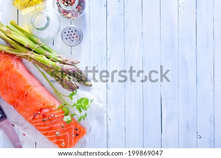 salmon and asparagus - stock photo