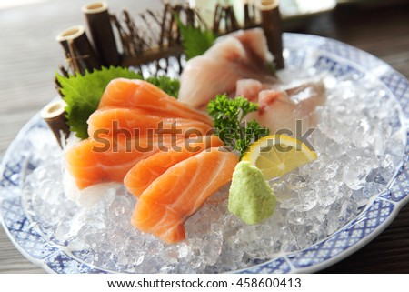 Salmon and red snapper sashimi Japanese food - stock photo