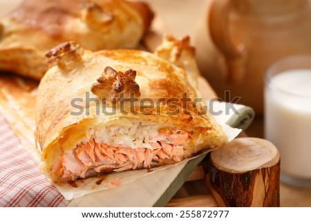 Salmon and rice pie - stock photo