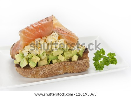 salmon avocado sandwich - stock photo