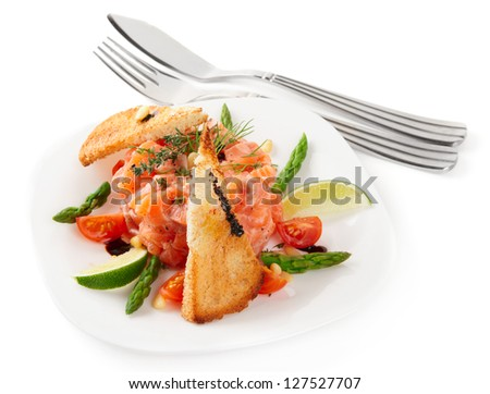 Salmon carpaccio in plate isolated on white background - stock photo