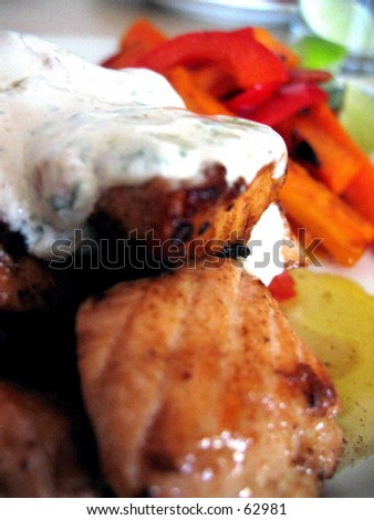 Salmon dish ready to be served. - stock photo