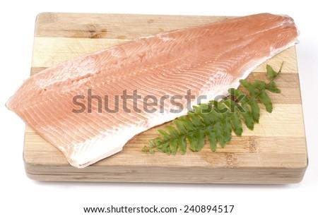salmon filet with fresh herbs - stock photo