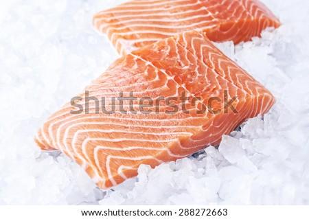 Salmon Fillet in Ice - stock photo