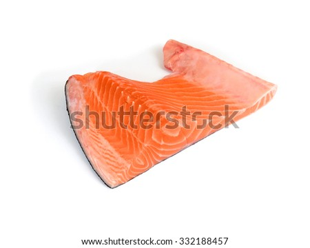 salmon fillet on white background - stock photo