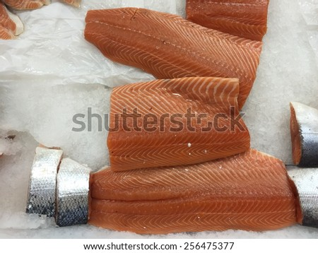 Salmon fillet red fish on ice - stock photo