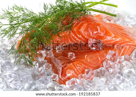 Salmon fillet with dill in ice - stock photo