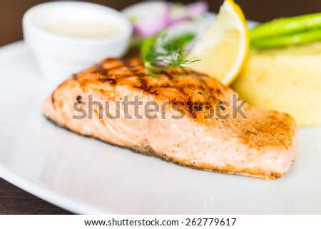 Salmon fish fillet grilled steak - stock photo