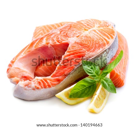 Salmon. Fresh Raw Salmon Red Fish Steak isolated on a White Background - stock photo