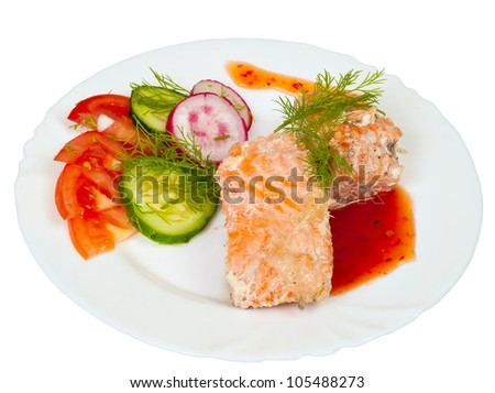 salmon in creamy sauce with vegetables on a white background - stock photo