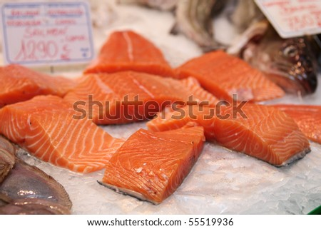 Salmon in ice - stock photo