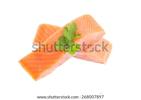 Salmon meat isolated on white - stock photo